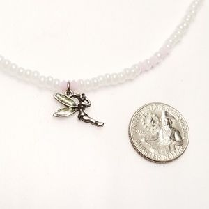 Accessories - Girls Disney Tinkerbell Charm White Pink Necklace